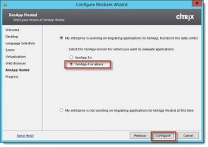 Figure 28 : AppDNA Configuration Modules XenApp Hosted